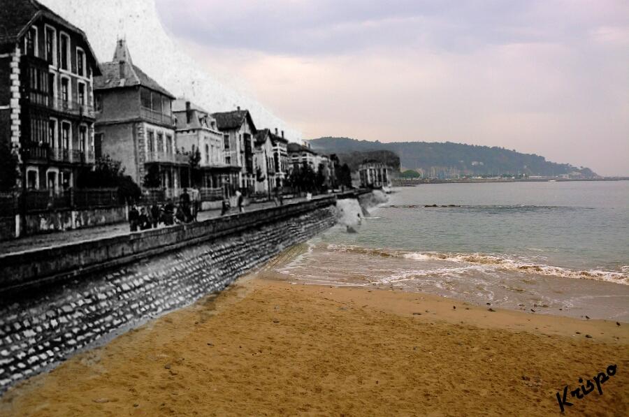 fotografia antigua del paseo butron y la playa pequeña de hondarribia
