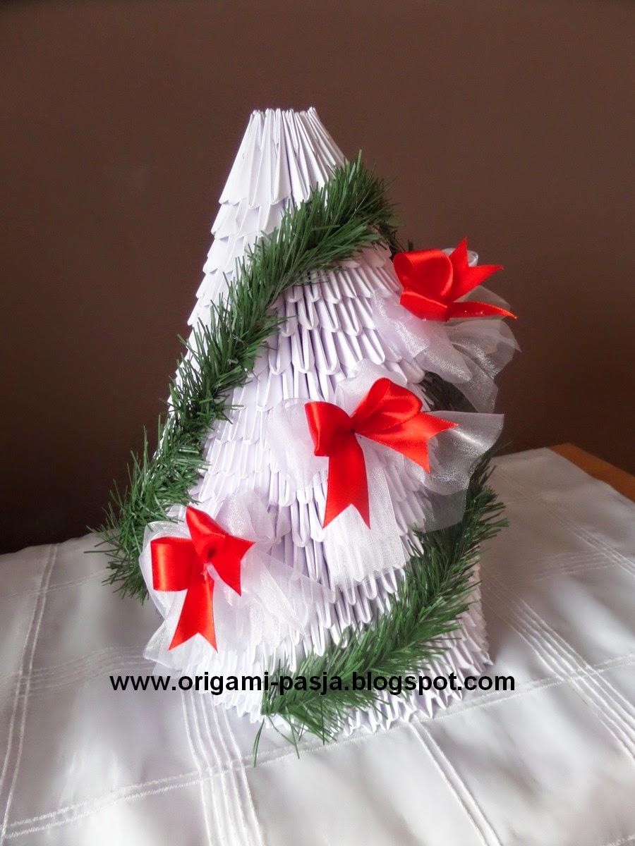 Choinka origami modułowe.
