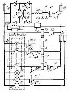 Контакторная схема управления рулевым электроприводом