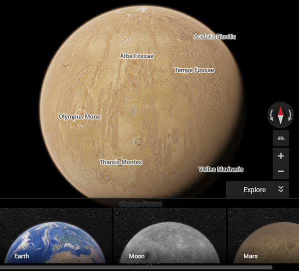 how to look at mars on google earth app