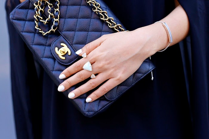 Chanel bag, kendra scott rachel double ring, monica vinader bracelet, chicwich cape dress, chanel pin, fashion blog