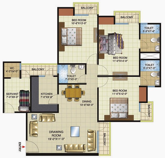 Amrapali flats villas apartments noida amrapali dream for Floor plans high rise apartments