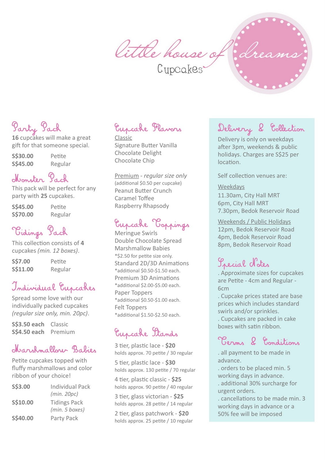 Cake Price List Template http://littlehouseofdreams.blogspot.com/2008/01/updated-price-list.html