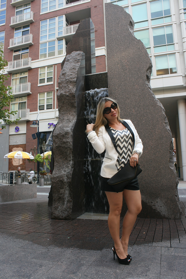 leather shorts, Prada Baroque Round sunglasses, Michael Kors shoes