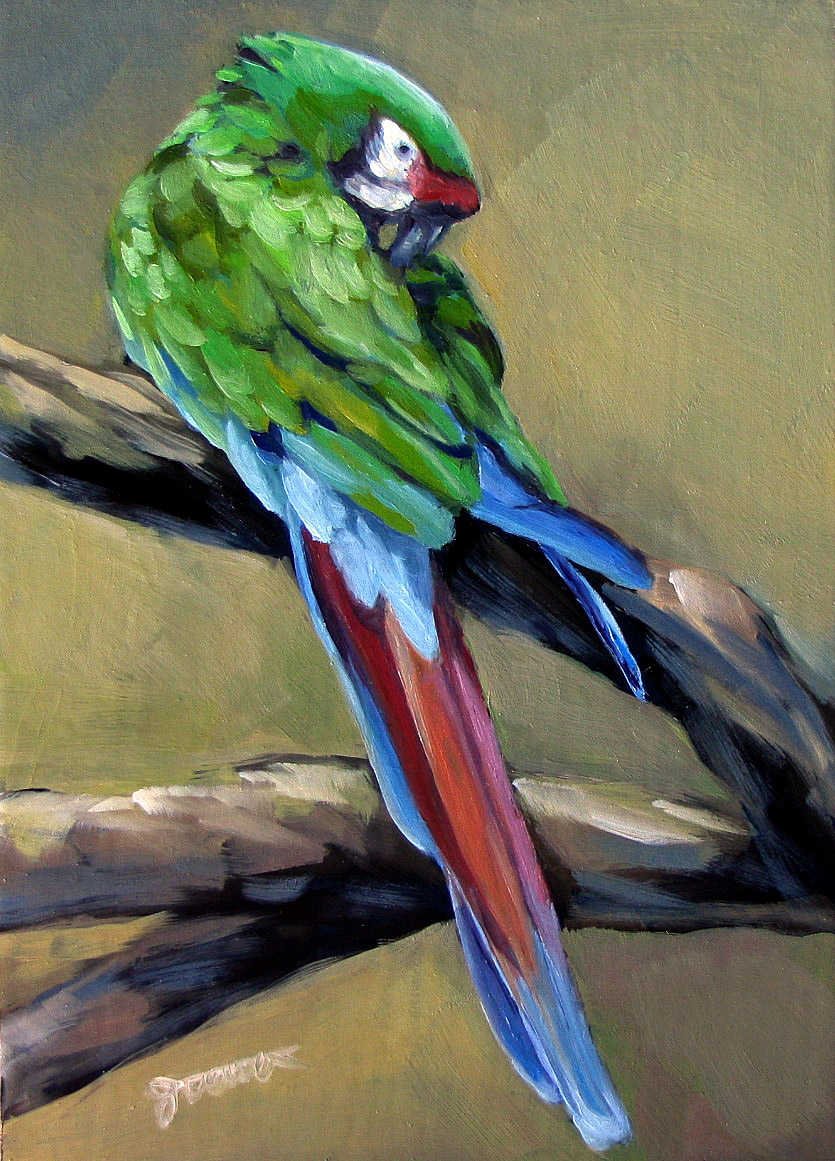 Green parrot painting - photo#12