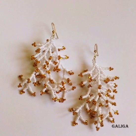 Coraling Beadwork Dangle Seed Bead Earrings- White With Gold Earrings