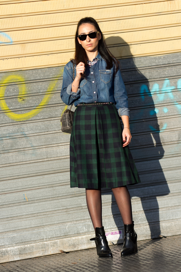 Outfit Fashion Blog with Meltin' Pot Denim Shirt and Checked Skirt