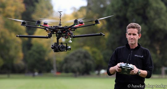 Tim Whittaker, Tim Whittaker Photography, Hastings, with his multi-rotor Photodrone photograph