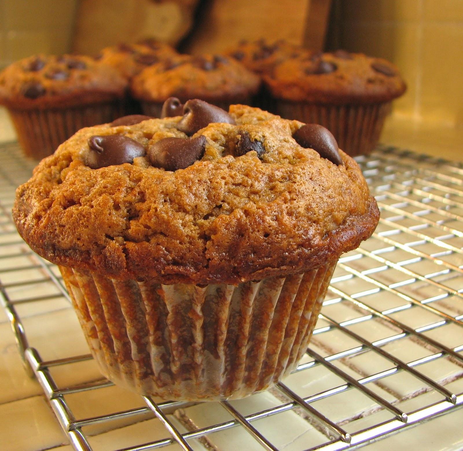 Delectably Mine: Mocha Banana Chocolate Chip Muffins