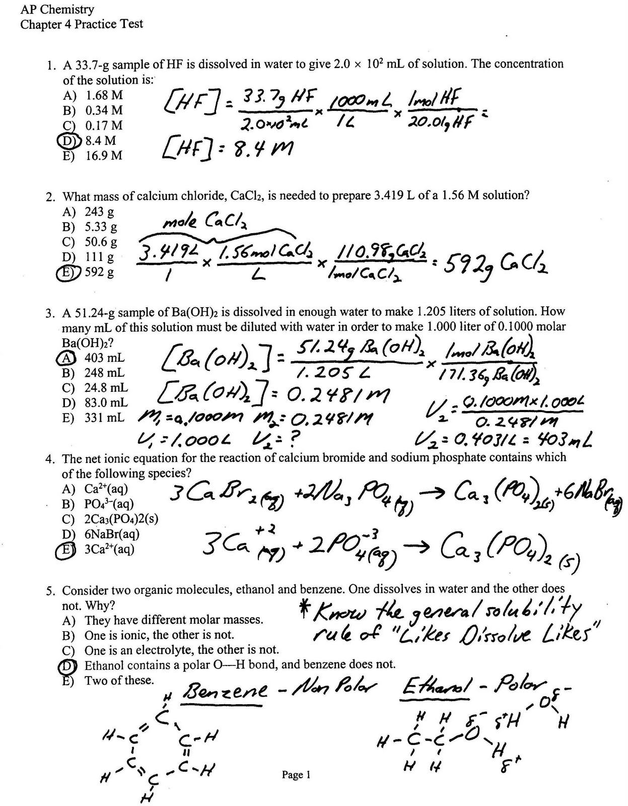high school chemistry multiple choice questions High school chemistry test mark your answers to multiple-choice questions 12 through 22 in the spaces provided in your student answer booklet.