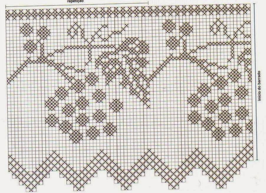 Схема для филейного вязания листья 615