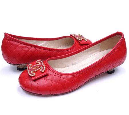 Червени балетни пантофки Chanel