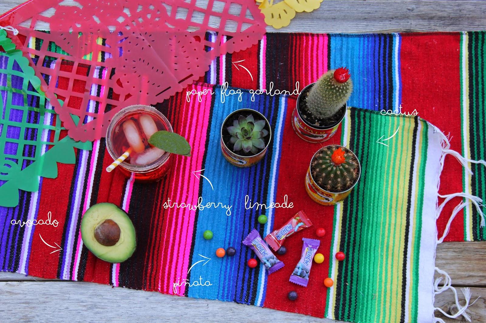 Cactus, piñata, guacamole, chips and salsa, garland, strawberry limeade