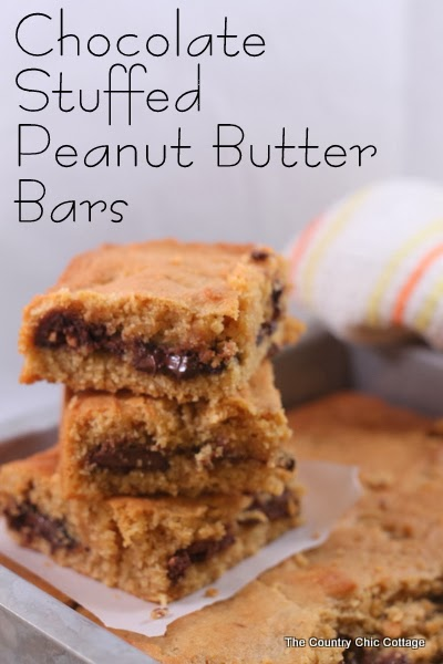 Chocolate Stuffed Peanut Butter Bars Recipe -- a mouthwatering recipe that your family will love!