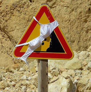 funny picture: women bra on road sign