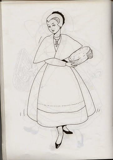 desenho de mulher antiga para pintar ou bordar em panos de prato