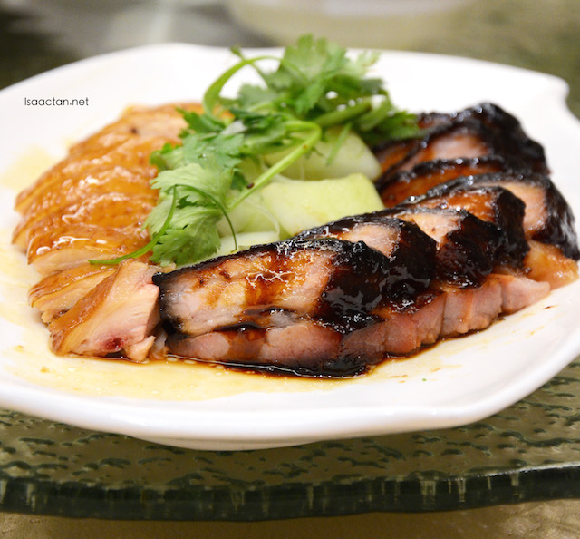 Barbecued Pork (Char Siu) with steamed Kampung Chicken