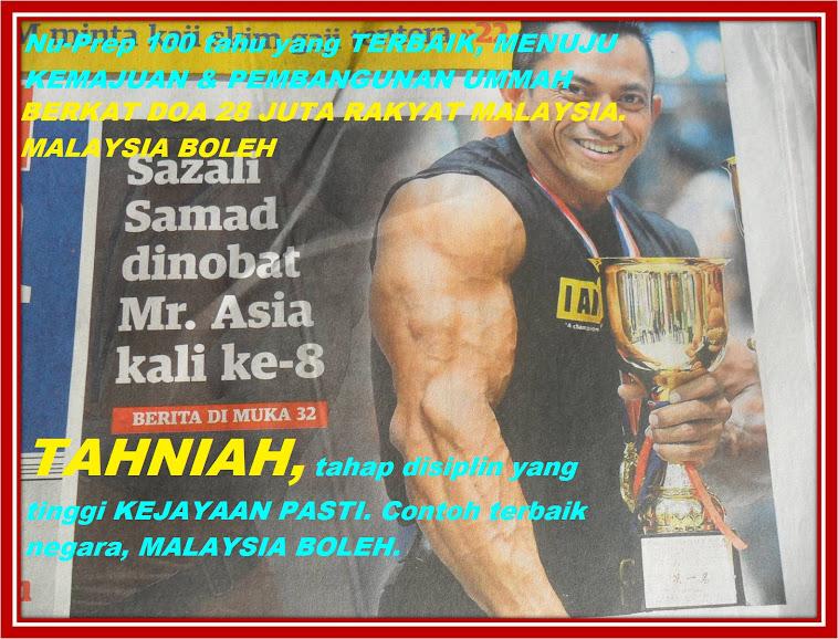 Jenama Malaysia Nu-Prep 100 YAKIN Mr Asia 2012 adalah Sazali Samad kali ke 8 Sebilion Terima Kasih