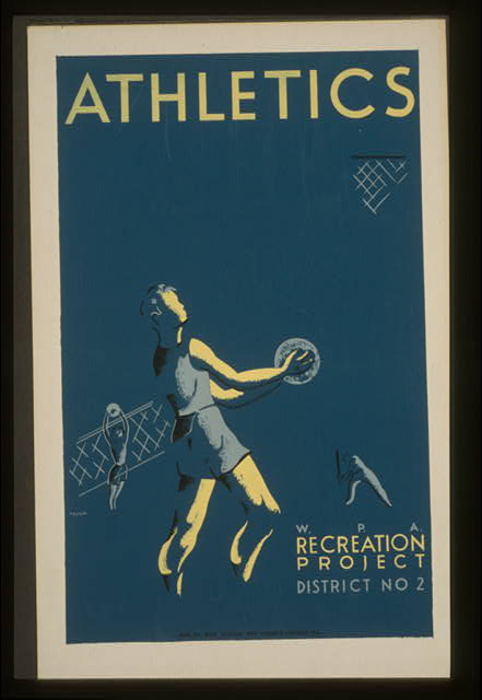 sports, vintage, vintage posters, wpa, classic posters, retro prints, free download, graphic design, Athletics - W.P.A. Recreation Project Vintage Sports Poster