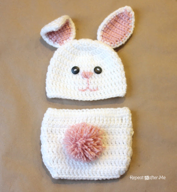 Free Crochet Pattern For Bunny Ears And Diaper Cover : Crochet Bunny Hat Pattern - Repeat Crafter Me