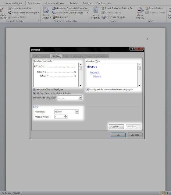 configuração de tabulação e fonte no sumário