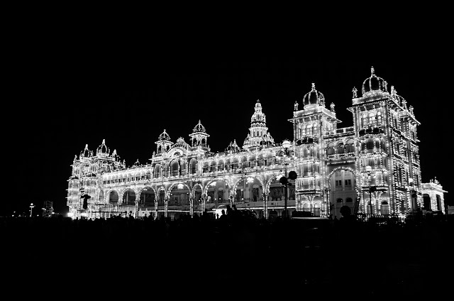 Mysore Palace in black and white
