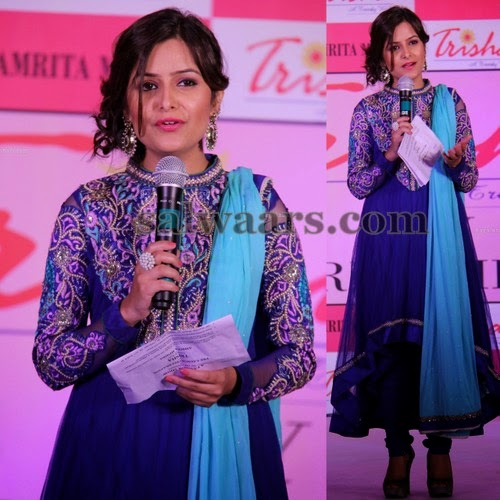 Trendy Crystal Churidar in Blue