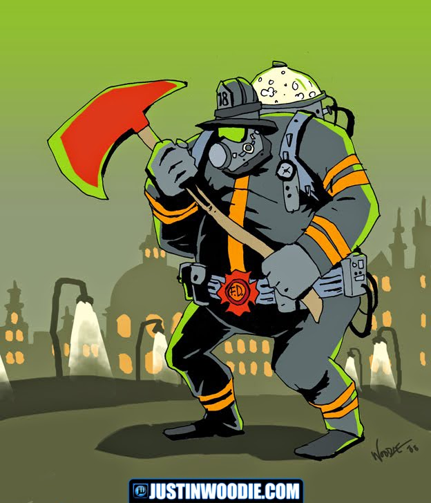 Fat Fireman Illustration