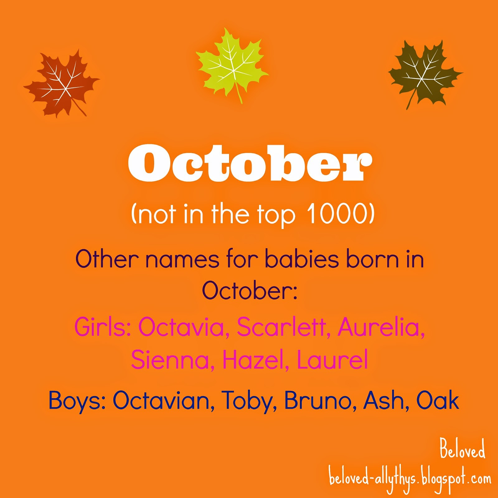 Im Not Sure If October Is As Usable Some Other Fall Month Names Such September And November But I Think It Might Be A Good Fit For Certain