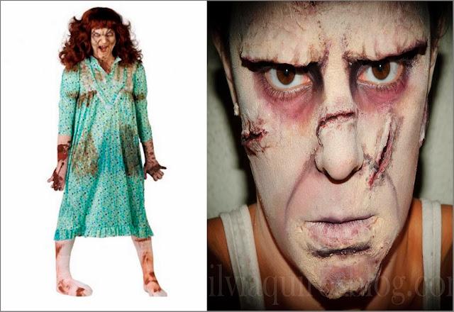 Disfraz niña del exorcista barato y maquillaje niña del exorcista