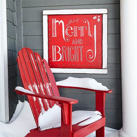 red chair, Christmas sign, outside porch, Christmas decorating