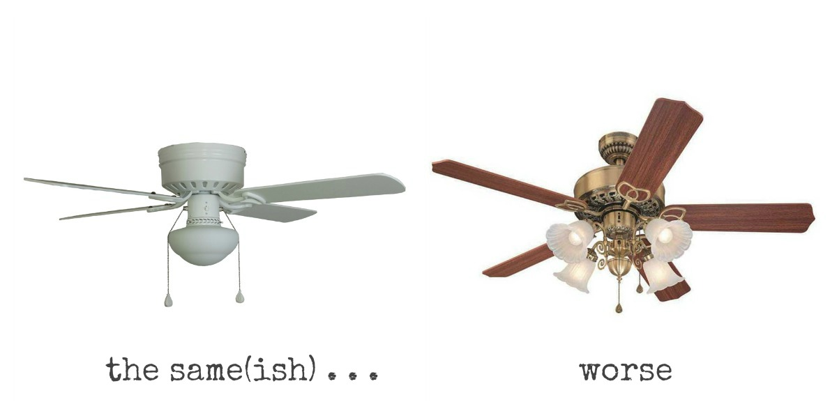 long story short ceiling fans were here to to stay im sorry but we looked casually for nicer ones for three years we only found ones that were either ceiling fans ugly