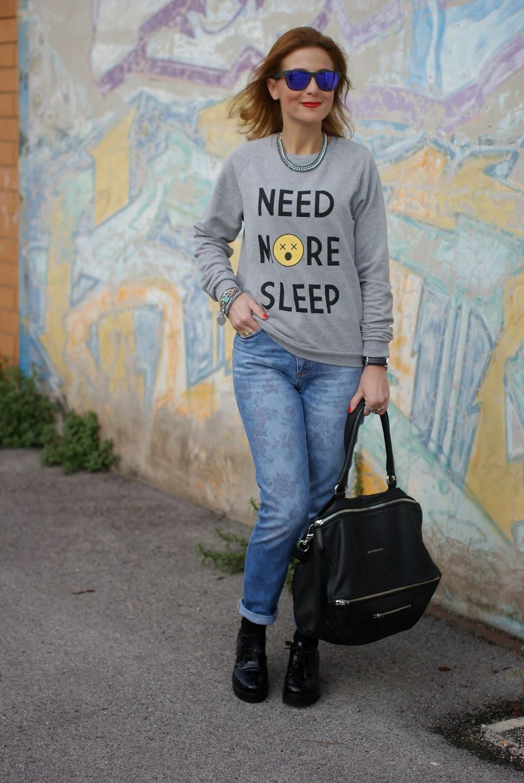 need more sleep sweater, Asos farleigh jeans, Luca barra gioielli, Givenchy Pandora bag, Daniel Wellington Classic Sheffield watch, Fashion and Cookies, fashion blogger