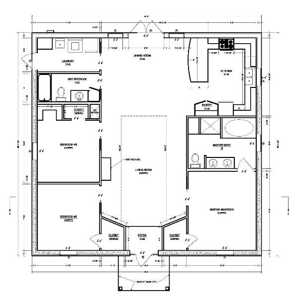 Making simple house plan interesting and efficient for Large simple house plans