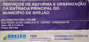 Urbanização da entrada principal de Brejão