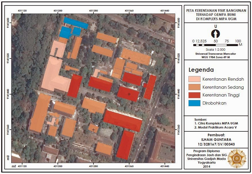 Contoh Peta Kerentanan Fisik Bangunan FMIPA UGM Terhadap Gempa Bumi www.guntara.com