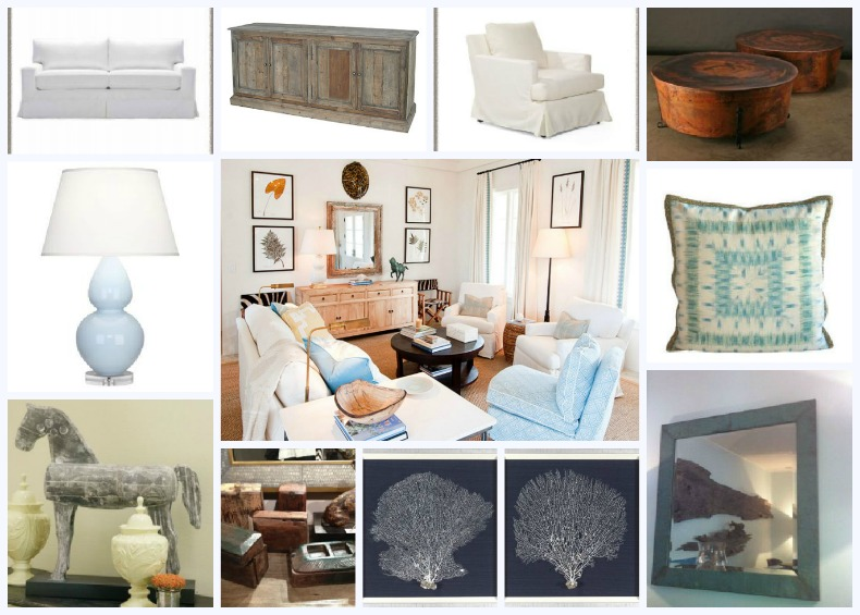Asian inspired coastal living room shopped by Our Boat House