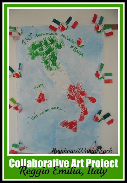 Painted Handprint Map of Italy at RainbowsWithinReach