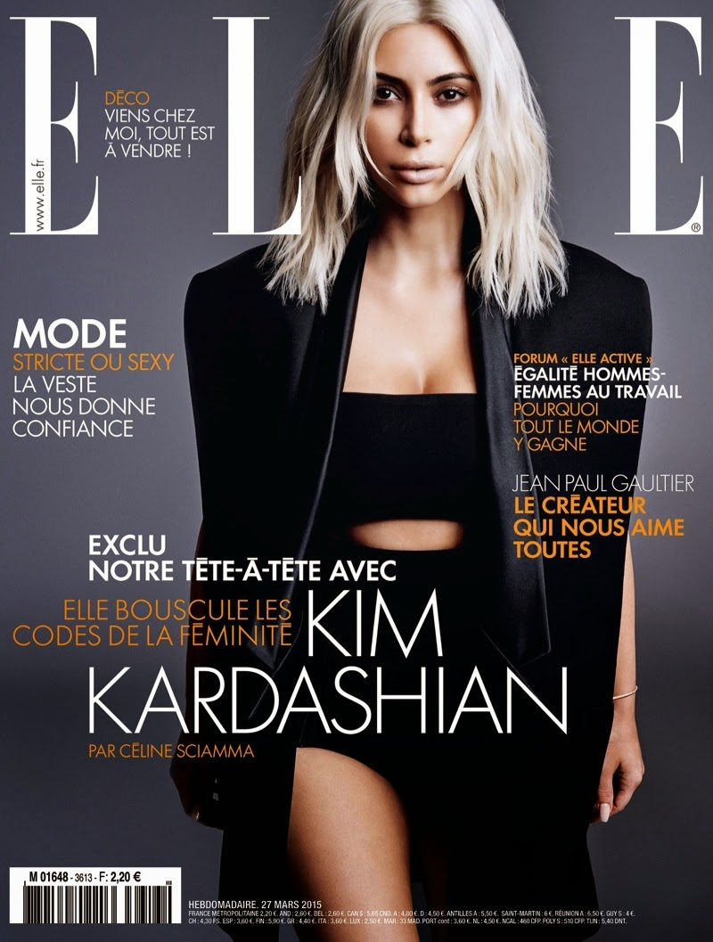 Kim Kardashian shows off curves for Elle France March 2015