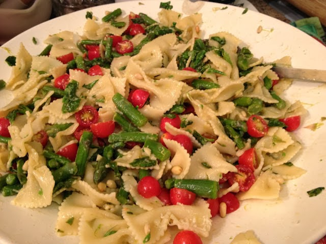 Fig and Rose Pasta Salad with Asparagus and Fresh Basil Vinaigrette