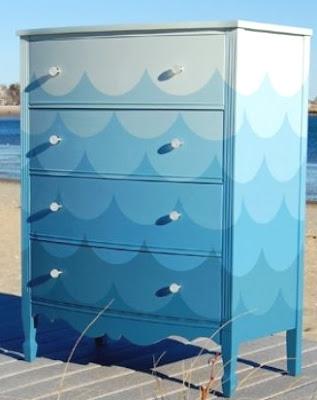 blue dresser with wave pattern