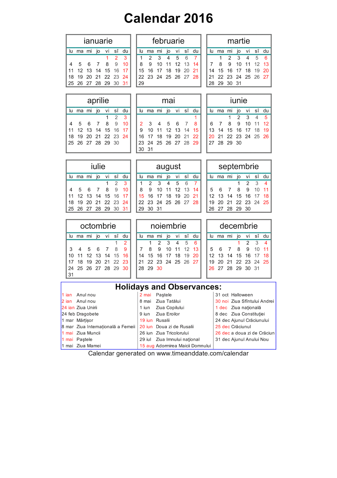 Calendar 2016 Romana De Printat | Calendar Template 2016