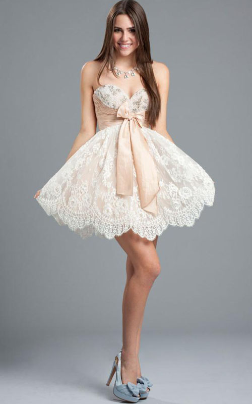 homecoming dazlling prom dresses 2013: White Beaded Lace A-line ...
