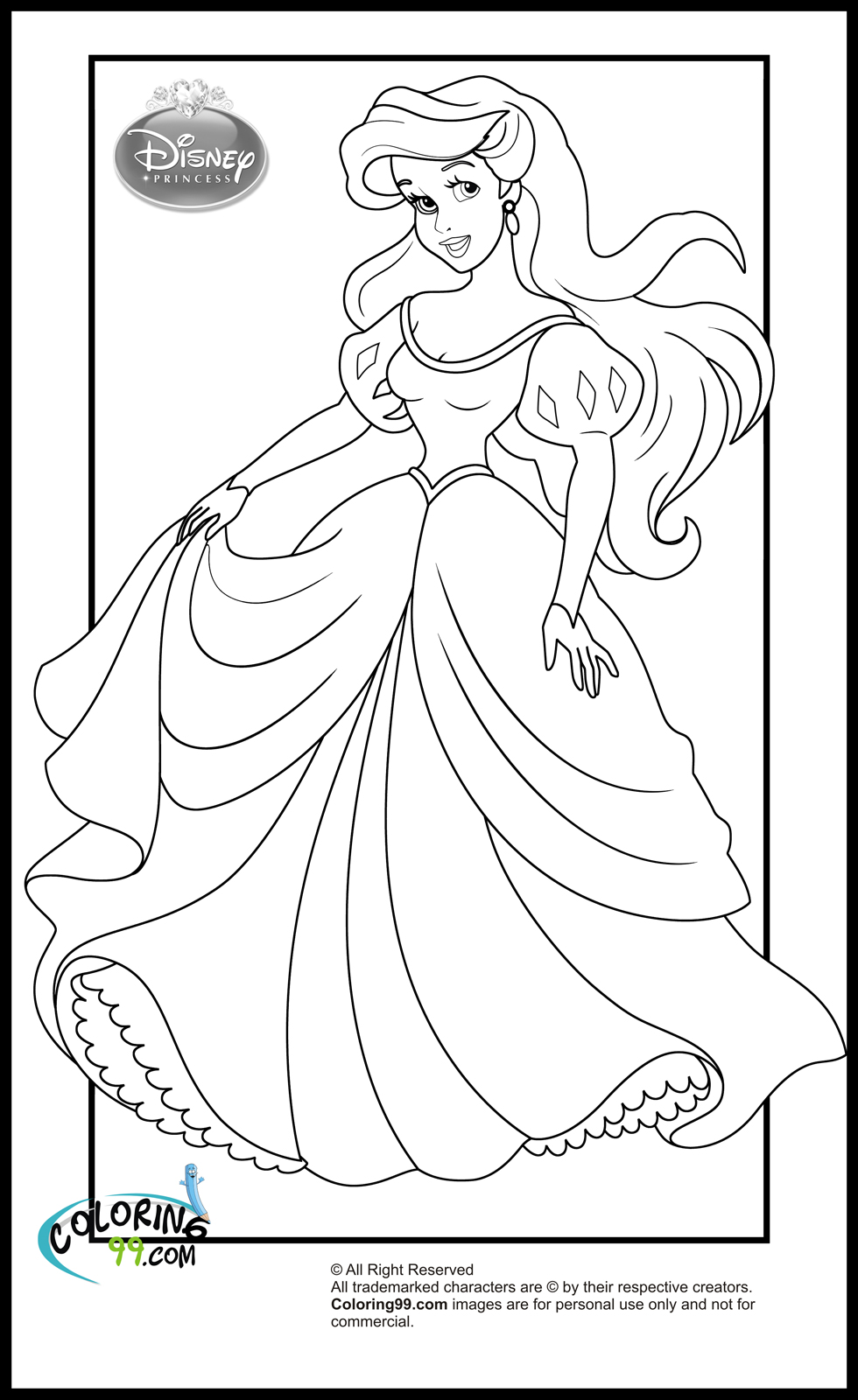 Disney princess coloring pages minister coloring for Free princess ariel coloring pages