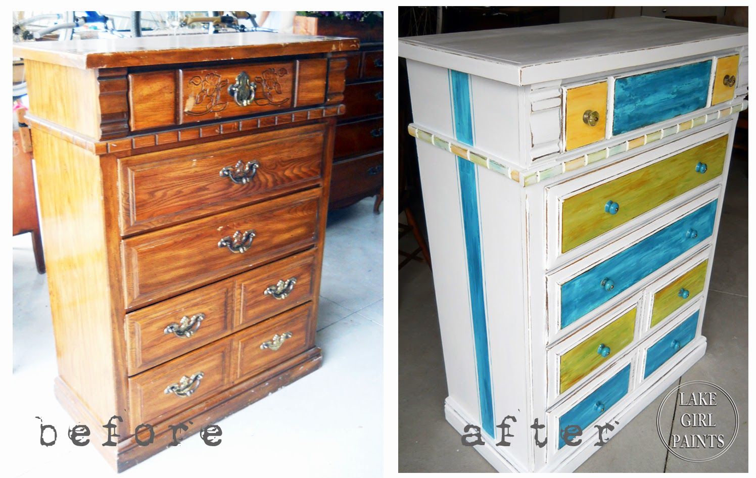 Lake Girl Paints: Dresser Makeover - Brown to White Beach Style