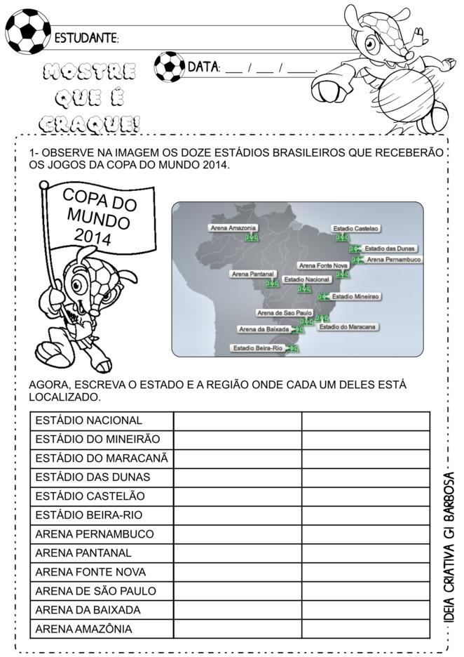 Atividade educativa estados e regiões do Brasil ensino fundamental Copa do mundo 2014