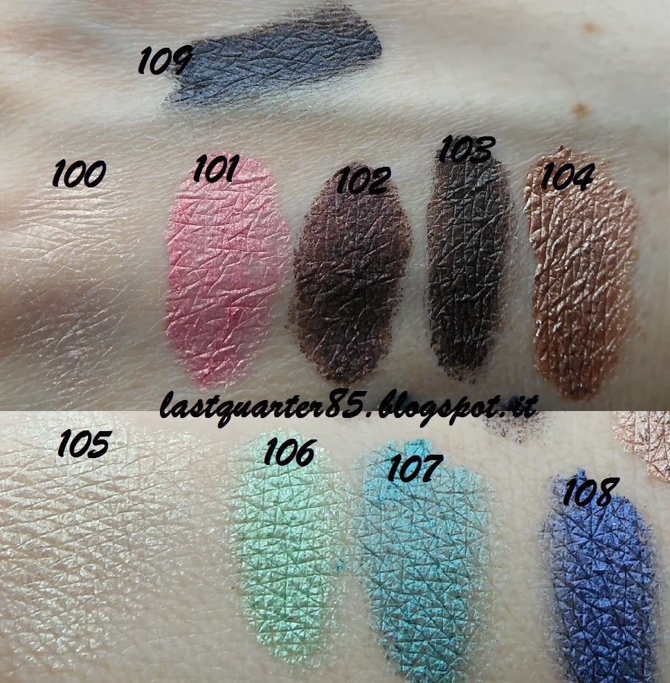 Kiko Boulevard Rock Colour Shock Long Lasting Eyeshadow: 100 Innocent Rose, 101 Punk Baby Pink, 102 Revolutionary Burgundy, 103 Alternative Brown, 104 Snappy Brass, 105 Adrenaline Lime, 106 Custom Sugar Green, 107 Inspiration Emerald, 108 Rhythmic Blue e 109 Pentagram Navy.