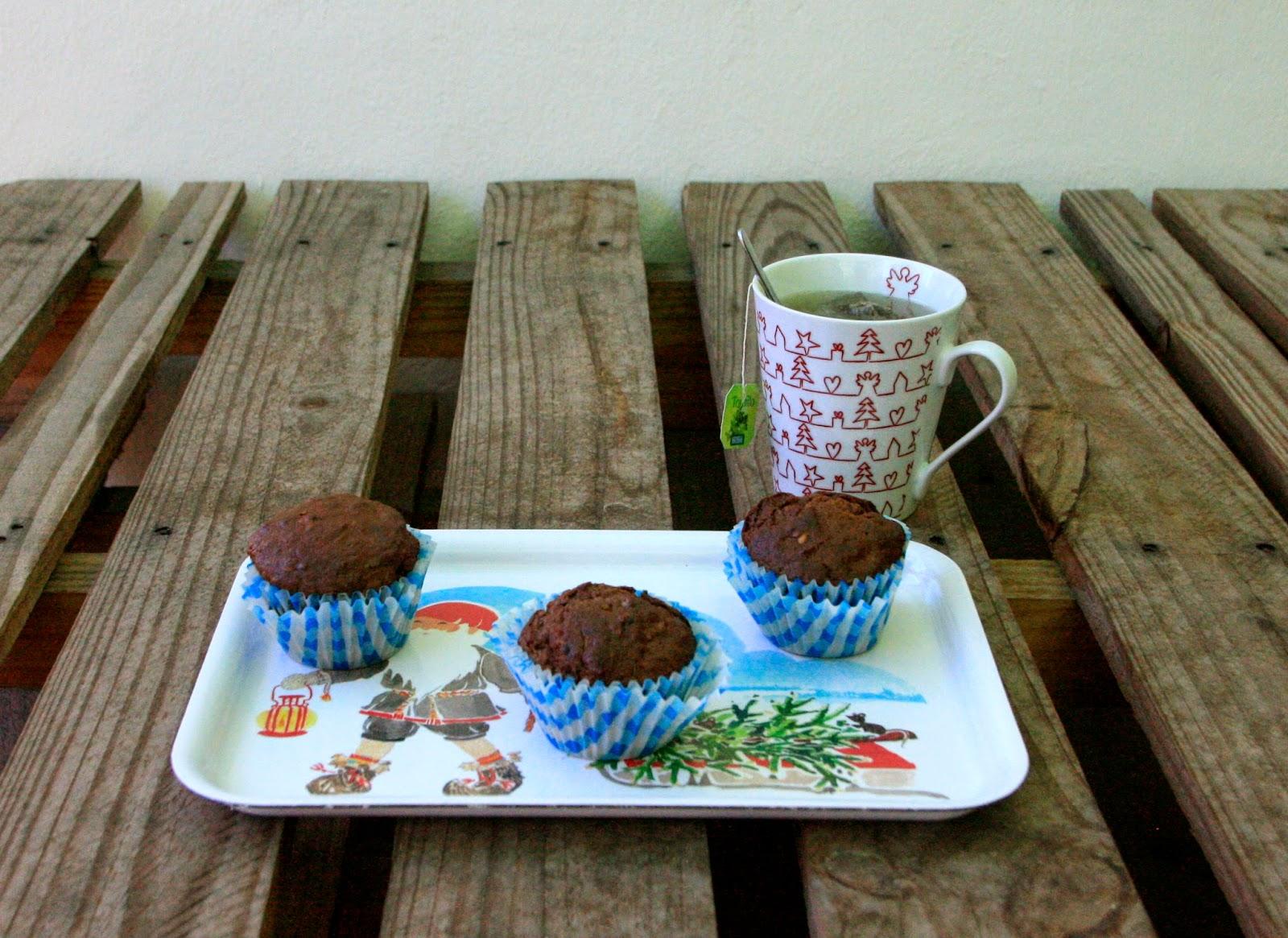 Magdalenes amb fruita i llavors altes en fibra per esmorzar