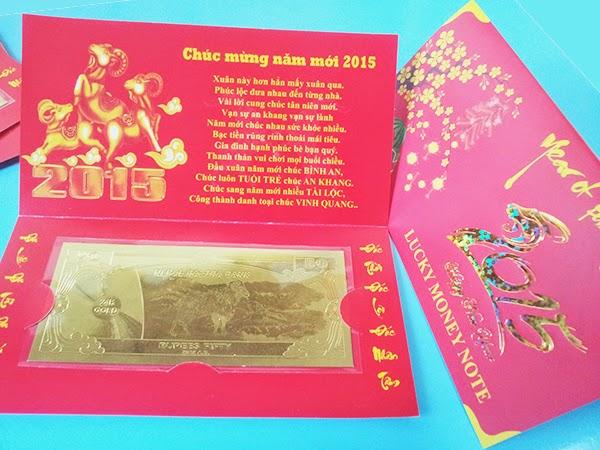 Tiền dê nepal mạ vàng lì xì tết 2015