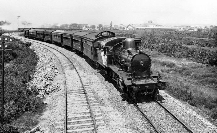 Locomotive and train of the Dutch Indies Railway Company (Nederlands-Indische Spoorweg Maatschappij), Java.